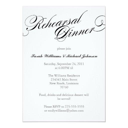 Cena elegante del ensayo invitacion personalizada