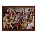 Cena en el detalle de Emmaus de Pontormo Jacopo (e Postal