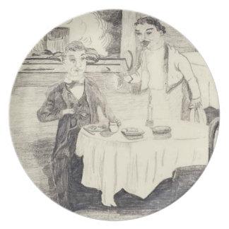 Cena en el mesón plato para fiesta