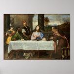 Cena en Emmaus (1533-1534) por Titian Poster