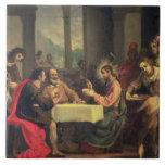 Cena en Emmaus, c.1600-05 (aceite en el panel) Azulejos