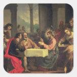 Cena en Emmaus, c.1600-05 (aceite en el panel) Calcomania Cuadradas Personalizadas