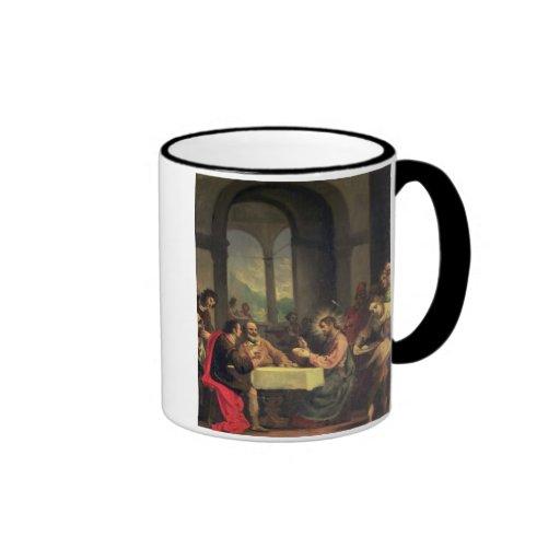 Cena en Emmaus, c.1600-05 (aceite en el panel) Tazas De Café