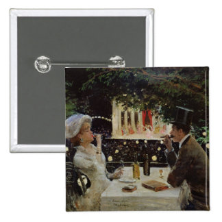 Cena en Les Ambassadeurs, c.1882 Pin Cuadrado