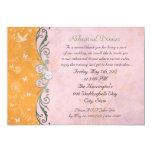 Cena floral anaranjada y rosada del ensayo invitación