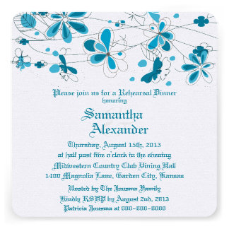 Cena floral azul del ensayo de la mariposa anuncio