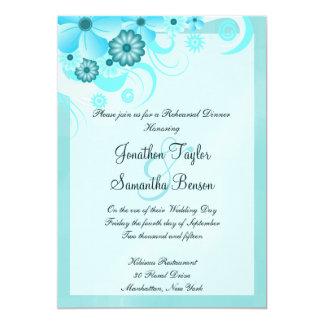 """Cena floral azul del ensayo del boda de la invitación 5"""" x 7"""""""