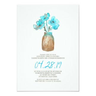 """CENA floral del ENSAYO de la turquesa de la Invitación 5"""" X 7"""""""