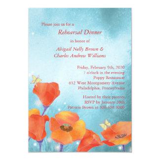 """Cena floral del ensayo del boda de la amapola roja invitación 5"""" x 7"""""""