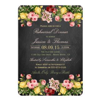 """Cena floral del ensayo del boda de la pizarra del invitación 5"""" x 7"""""""