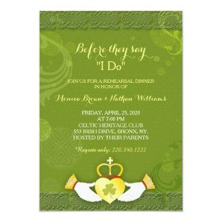 """Cena irlandesa verde con clase del ensayo del boda invitación 5"""" x 7"""""""