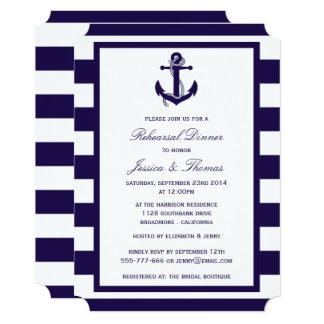 """Cena náutica del ensayo de la raya de azules invitación 5"""" x 7"""""""