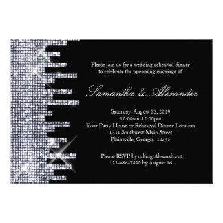 Cena negra de plata reluciente del ensayo del enca invitaciones personalizada