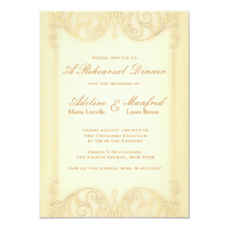 Cena pálida del ensayo de la suposición del oro invitación 11,4 x 15,8 cm
