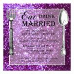 Cena púrpura del ensayo del boda del brillo invitaciones personalizada