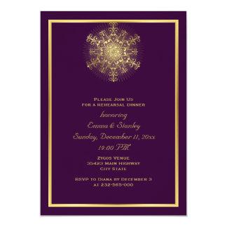 """Cena púrpura del ensayo del boda del copo de nieve invitación 5"""" x 7"""""""