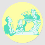 Cena retra de la acción de gracias etiqueta redonda
