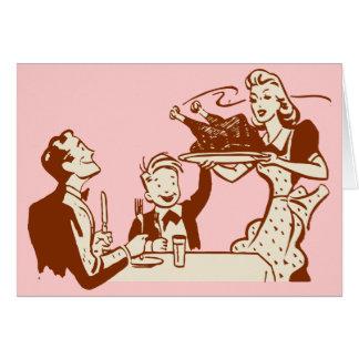 Cena retra de la acción de gracias tarjeta de felicitación