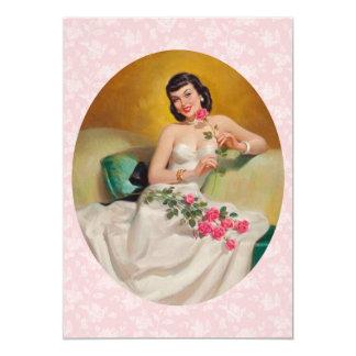Cena retra del día de San Valentín de los años 50 Invitación 12,7 X 17,8 Cm