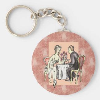 Cena romántica llavero redondo tipo pin