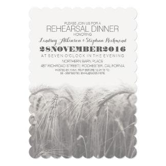 Cena rústica elegante del ensayo del trigo del invitación 12,7 x 17,8 cm