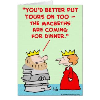 cena shakespeare de los macbeths de la armadura de tarjeta de felicitación