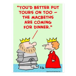 cena shakespeare de los macbeths de la armadura de tarjetas postales