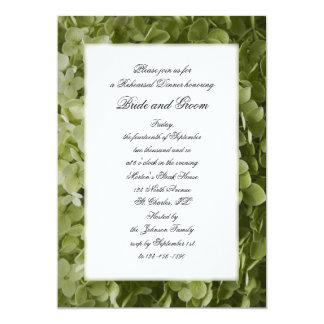"""Cena verde del ensayo del boda de la flor del invitación 5"""" x 7"""""""