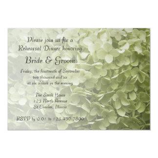 """Cena verde del ensayo del boda del Hydrangea de Invitación 5"""" X 7"""""""
