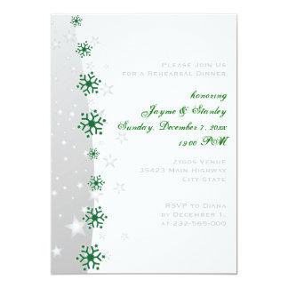 Cena verde, gris del ensayo del boda del copo de invitación personalizada