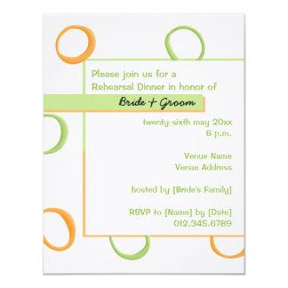 """Cena verde pintada del ensayo de los círculos invitación 4.25"""" x 5.5"""""""