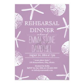 """Cena violeta con clase del ensayo del boda del invitación 5"""" x 7"""""""