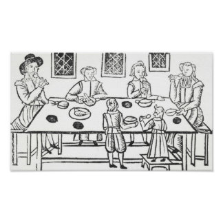 Cenando en casa, de las baladas de Roxburghe Impresiones