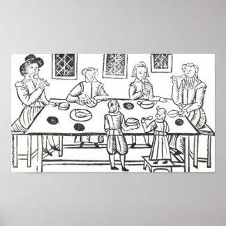 Cenando en casa, de las baladas de Roxburghe Póster