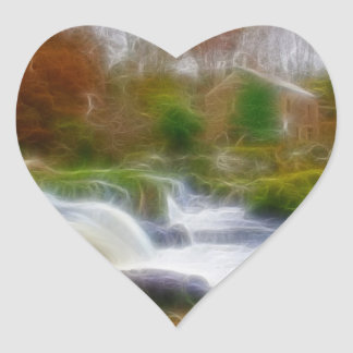 Cenarth Falls Heart Sticker