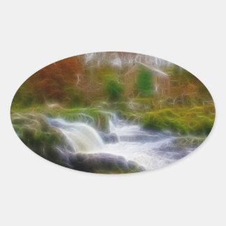 Cenarth Falls Oval Sticker