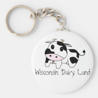 cencerro, tierra de la lechería de Wisconsin Llavero Redondo Tipo Pin