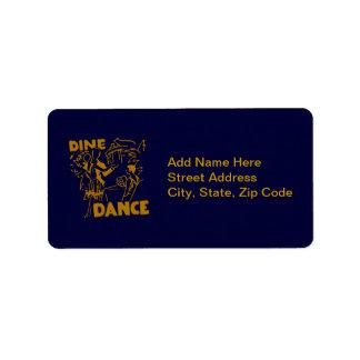 Cene y baile etiqueta de dirección