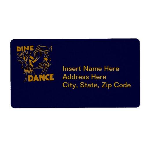 Cene y baile etiqueta de envío