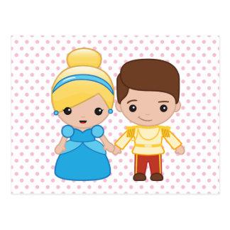 Cenicienta y príncipe el encantar Emoji Tarjeta Postal