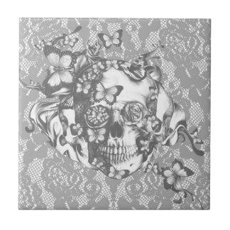 Cenizas al cráneo floral del cordón de las cenizas azulejo cuadrado pequeño