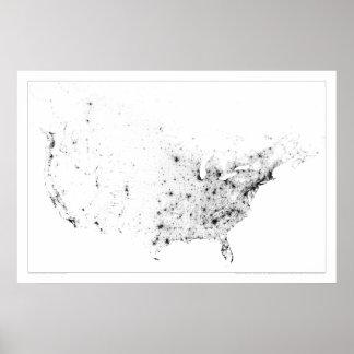 Censo Dotmap de Canadá y de Estados Unidos Impresiones
