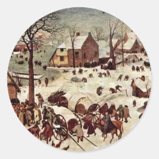 Censo en Belén por Bruegel D. Ä. Pieter Pegatina Redonda