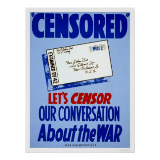 Censor Conversation WWII 1941 WPA Poster