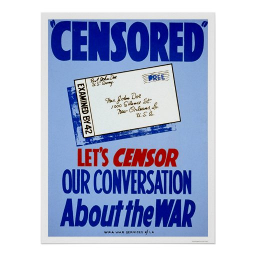 Censor Conversation WWII 1941 WPA Posters