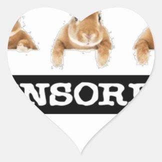 censored rabbit heart sticker