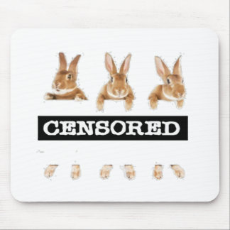 censored rabbit mouse pads