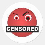 Censored Smiley Classic Round Sticker
