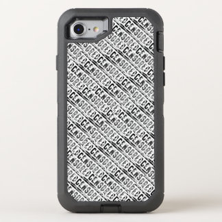censored Typography Word First Draft Black OtterBox Defender iPhone 8/7 Case