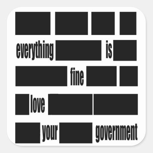 Censorsed Government Message Square Sticker